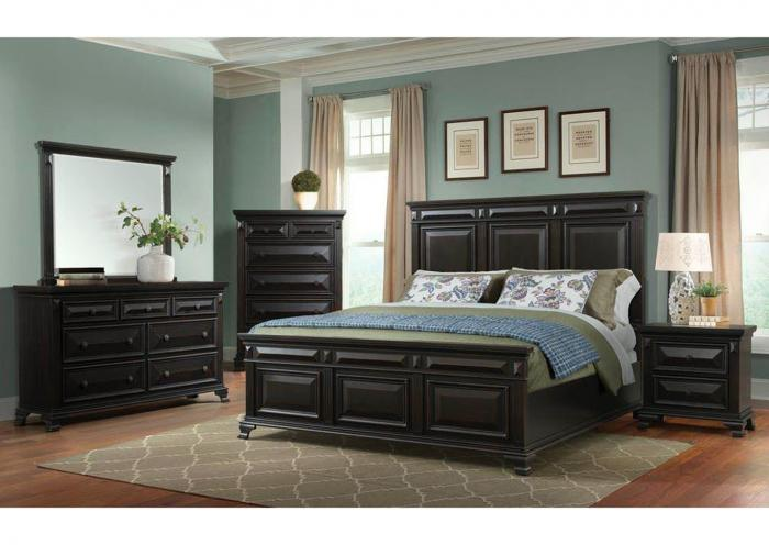 Queen Bed w/Dresser, Mirror, Chest and Nightstand,Harlem In-Store