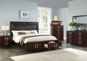 Brown Queen Storage Bed