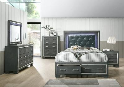 Image for 14.5 Gray 5 Piece Bedroom Set (queen bed w/Dresser, Mirror, Chest and Nightstand)