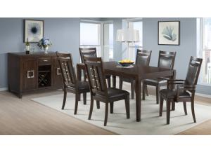 Rodney Dining Table, 4 Side Chairs and 2 Arm Chairs.