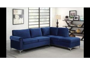 3323 Navy Blue Velvet Chaise sectional