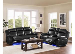 Vega Reclining Sofa and Storage Console Reclining Loveseat with LED light
