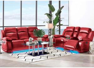 Vega Reclining Sofa w/LED Light and Reclining Console Loveseat w/LED Light