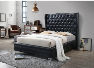 B0390 Black Queen upholstered bed