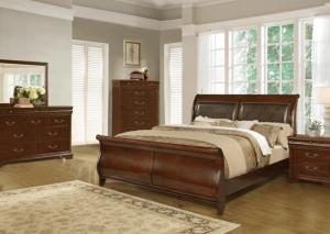 Brown Queen Sleigh Bed w/Dresser, Mirror, Chest and Nightstand