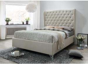 B0393 Cream Queen upholstered bed