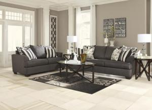 Levon Charcoal 7 piece package includes, Sofa, Loveseat, 3 Tables and 2 lamps