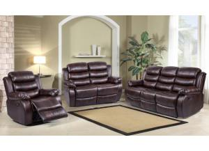 9222 Brown Reclining Sofa and Reclining Loveseat
