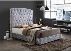 B0324 Gray Velvet queen upholstered bed.