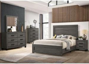 Gray Queen Bed, Dresser, Mirror, Chest and Nightstand
