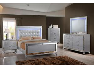 Valentino Queen Bed, Dresser, Mirror and 2 Nightstands