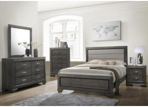 Gray Upholstered Full Bed w/Dresser, Mirror, Chest and Nightstand