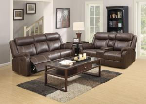 Domino Brown Reclining Sofa w/Drop down tray and Reclining Console Loveseat