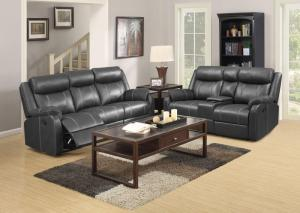 Domino Black Reclining Sofa w/Drop down tray and Reclining Console Loveseat