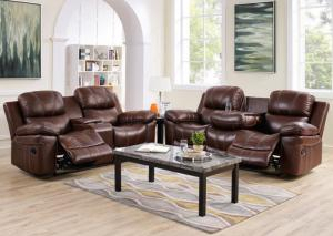 Legato Reclining leather Sofa w/Drop Down or Reclining Console Loveseat