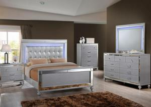 Valentino Queen Bed, Dresser, Mirror, Night stand and Chest