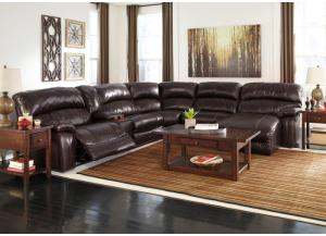 Damacio Dark Brown Reclining Right Facing Chaise End Power Sectional w/ Console, Cocktail Table & 2 End Tables