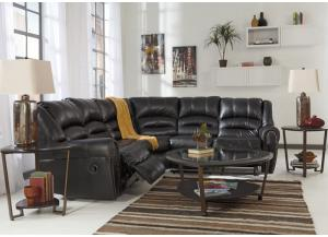 Manzanola Black Reclining Sectional w/ Cocktail Table & 2 End Tables