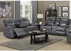 70220 Reclinig Sofa witch drop down tray & Reclining Loveseat