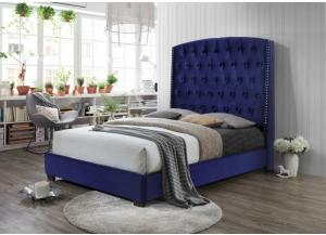 B0323 Navy Velvet queen upholstered Bed.