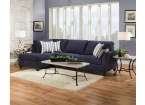 7081 Navy Blue Chaise Sectional