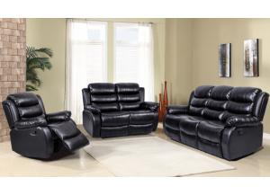 9220 Black Reclining Sofa and Reclining Loveseat
