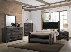 Nathan Queen Poster Bed w/Dresser, Mirror and Nightstand
