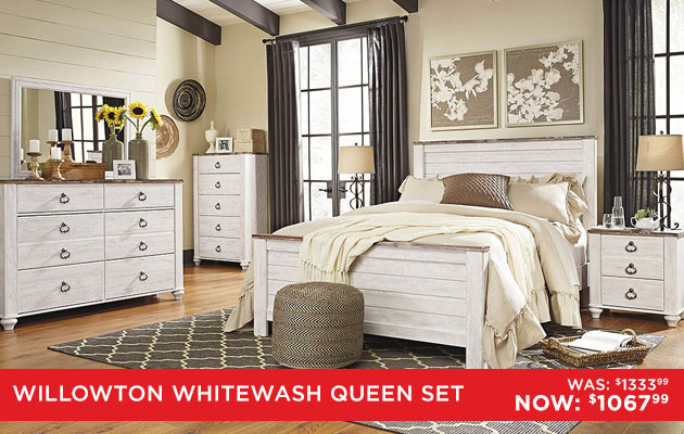 Charmant Willowton Whitewash Queen/Full Panel Bed W/Dresser, Mirror U0026 Nightstand