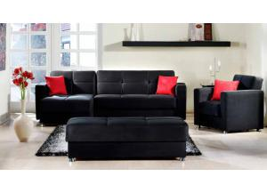 Elegant Rainbow Black Sectional Sleeper
