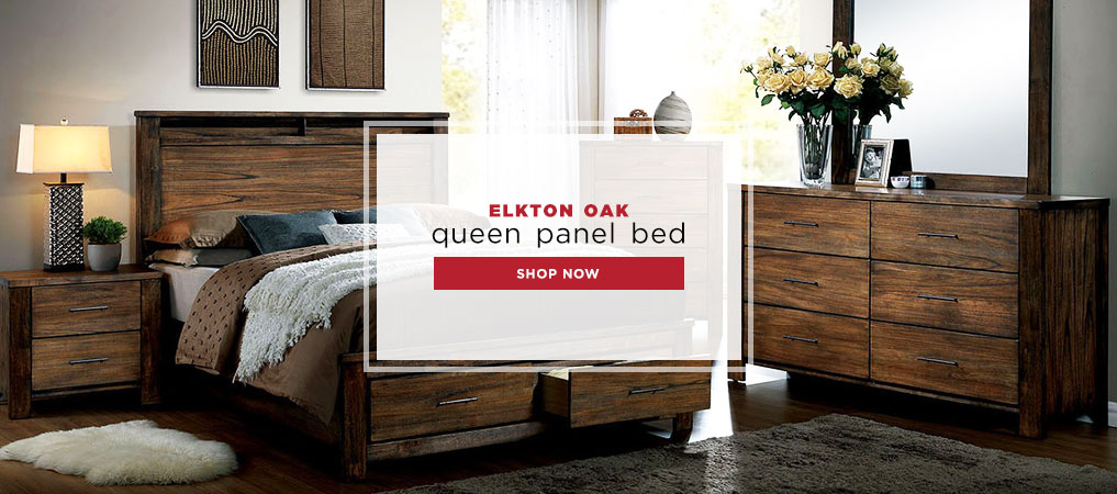 Elkton Oak Queen Panel Bed
