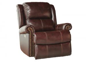 Closeout Leather Match POWER Recliner with POWER Headrest
