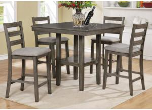 Tahoe 5 Piece Pub Dining Table and Chair Set | Gray