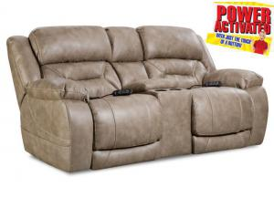 Badlands Power Reclining Loveseat - Mushroom