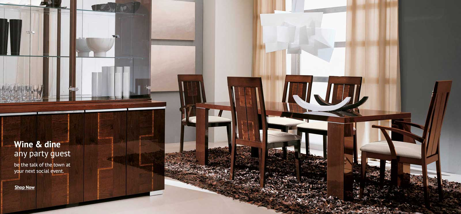 Brown wood dining room set
