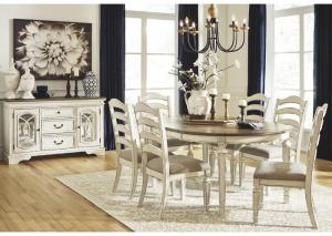 Realyn Chipped White 7 Piece Dining Set