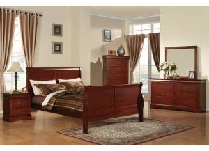 Louis Philippe III Cherry Queen Bed w/Dresser, Mirror & Nightstand