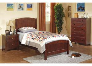 Dark Oak Twin Bed w/Nightstand & Chest