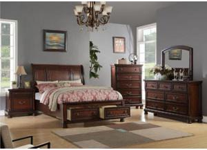 Cherry Queen Bed w/Dresser, Mirror & Nightstand