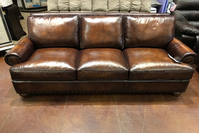 Stationary Sofa In Top Grain Leather and Feather Dawn Filled Cushions,InStore Products