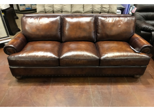 Stationary Sofa In Top Grain Leather and Feather Dawn Filled Cushions