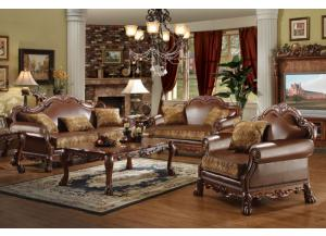 Dresden 3Pcs Brown Chenille/PU Leather Sofa Set 1 Sofa, 1 Loveseat and 1 Chair