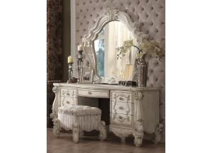 Versailles Bone White 3PCs Set Vanity Desk Dresser, Mirror & Stool