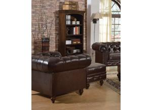 Shantoria Dark Brown Bonded Leather Wood Chair