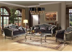 Chantelle 3Pcs Antique Platinum Sofa Set with Pillows 1 Sofa, 1 Loveseat and 1 Chair