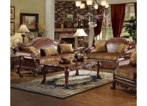 Dresden 2Pcs Brown Chenille/PU Leather Sofa Set 1 Sofa and 1 Loveseat
