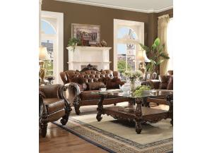 Versailles Light Brown PU Cherry Oak Finish Loveseat