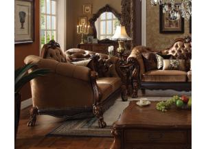 Dresden Golden Brown Velvet Cherry Oak Loveseat
