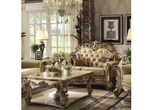 Vendome Gold Patina/Bone PU Loveseat