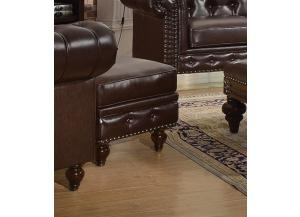 Shantoria Dark Brown Bonded Leather Wood Ottoman