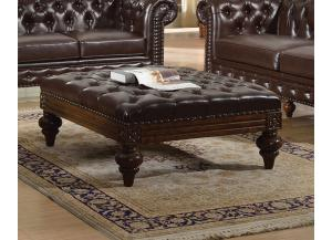 Shantoria Dark Brown Bonded Leather Wood Oversized Ottoman